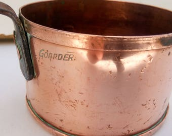 Vintage   French small copper  pot ,copper pan,signed Goardere
