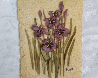 Vintage floral plaque, wall decor