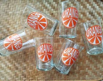 Set of 6 retro juice glasses, vintage