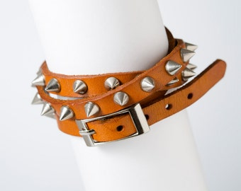 Rock N Roll Leather bracelet - wrap bracelet - studded bracelet - Band bracelet - buckle bracelet - spike bracelet - Rock Star bracelet