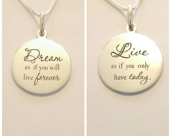 SOLID STERLING SILVER, Dream & Live, 2 sided pendant necklace, comes in Gift box