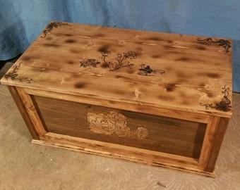 Burnt pine and cedar chest