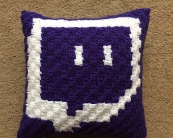 "Crochet Twitch Glitch Pillow 14""x14"""