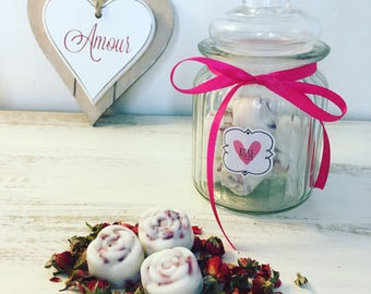 Candy Jar of 15 Rose Scented Wax Melts
