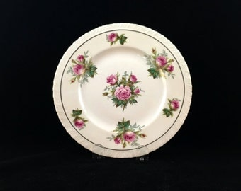 Set of (6) ANNIVERSARY HANOVER CHINA, Pink Rose Motif, Vintage Luncheon/Salad Plates