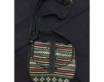 Vintage Handmade Tribal BlackHmong embroidered cotton shoulder bag