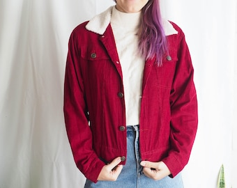 red corduroy denim vintage jacket with faux shearling collar
