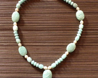 Amazonite and freshwater pearls necklace