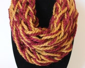 Single Wrap Arm Knit Infinity Scarf - Maroon and Gold with Chunky Yarn