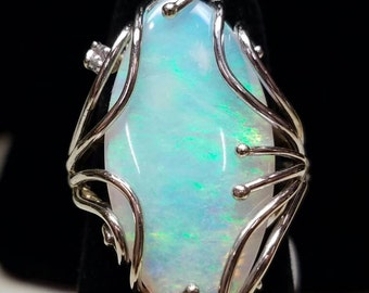 Australian Opal White Gold Ring