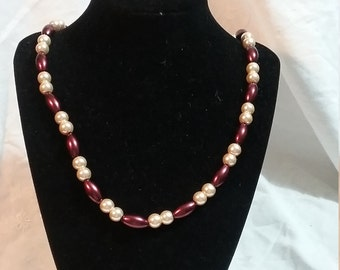 Buttermilk and Burgundy Glass Pearl Italian Renaissance 15th Century Style Necklace