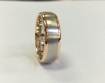 14k brushed comfort fit with two tones wedding band