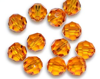 Swarovski Crystal Round Tangerine Beads 5000- 6mm (Package of 12 Beads)