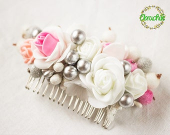 Style hair comb,bridal hair piece,kids hair accessories,gift set,Hair comb toddler,hair comb with roses,wedding hair accessories