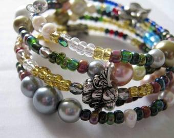 Angel Charm Beaded Memory Wire Wrap Bracelet