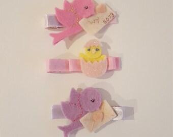 Set of three custom hairclips