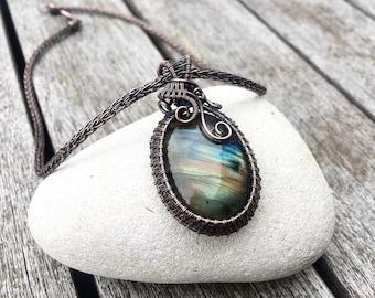 Labradorite Necklace ~ Viking Knit Necklace ~ Labradorite Pendant ~ Wire Necklace ~ Boho Necklace ~ Copper Necklace ~ Unique Gift