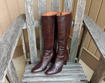 J Crew Brown Leather Knee High Women's Boots Size 9 Made in Italy