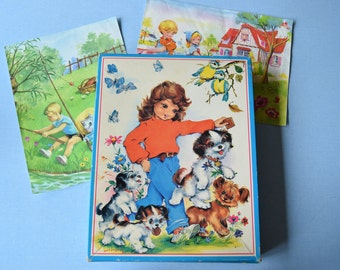 Vintage 60 70 / box of 3 puzzles / pastoral Illustrations of Luce Lagarde