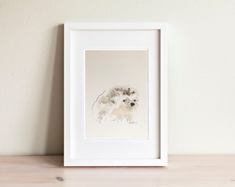 Hedgehog watercolor illustration - handmade