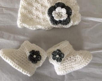 Grey and White booties and hat