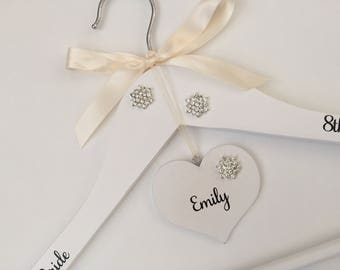 Personalised bridal coat hanger, unique wedding dress hanger, bridesmaid gift, Maid of Honour keepsake, white wooden bridal hanger