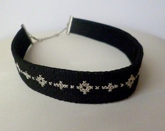 Black choker, Choker necklace, Romantic gifts, Elegant necklace, Satin choker, Black satin, Satin necklace, Embroidered choker, Embroidery