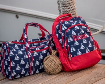 Boys Personalized Backpack, Sail Away, Blue, Free Monogram,  Preppy Boys, Back to School, Sailboat,