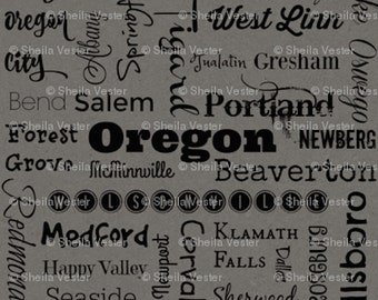 Oregon Cities fabric - Fat Quarter - green and black - grey and black