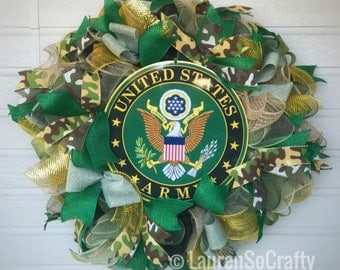 U.S. Army Wreath with emblem, Patriotic, Military Wreath, door wreath, gift, retirement, congratulations, veterans, service