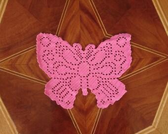crochet pink butterfly, netting, hand work