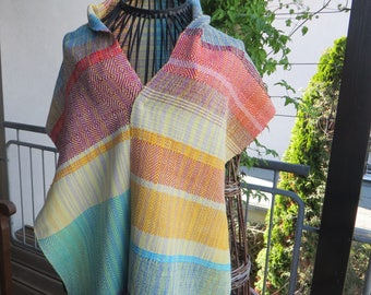 colorful handwoven scarf, shawl, made of cottolin (cotton and linen)
