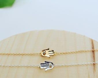 Gold / Silver Hamsa Hands Evil Eye Bracelet   Adjustable Silver / Gold Plated   Minimalist Silver Hamsa Hands Evil Eye Bracelet