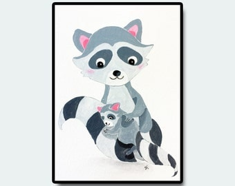 "Woodland Nursery Art, Nursery Wall Art, Baby's Bedroom, Racoon Art, Original Nursery Art, Racoon Baby and Mom, 5""x7"""