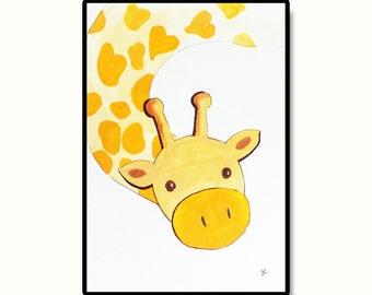 "Safari Nursery Art, Nursery Wall Art, Giraffe Kids Art, Original Nursery Art, Baby's Room Decor, Long Necked Giraffe, 5""x7"""