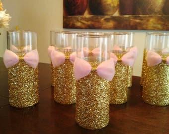 10 Pink and Gold Baby Shower, Wedding Centerpiece Bridal shower, Quinceanera, Centerpieces, Vases