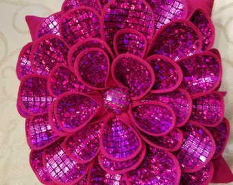 Pink Sparkle Flower Pillow