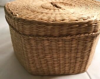 Vintage seagrass basket