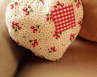 Strawberry and Gingham print Heart Cushion
