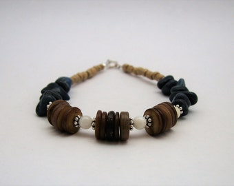 Brown Shell, Blue Quartzite, Glass E Beads & Sterling Silver Bracelet