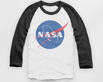 NASA - Vintage Look Baseball Jersey - Raglan Top - T Shirt  - S M L XL