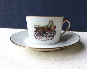 Old French Cup car Daimler 1886 GILDING porcelain vintage french cup of coffee decoration because