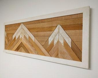 RECLAIMED WOOD wall art mountain scene