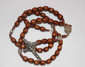 Catholic St.Benedict Rosary Wood Beads Metal Medal