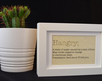 Urban Dictionary Wall Art /Hangry Definition / Dictionary Art / Funny Definition / Word Art