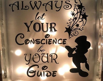 Let your conscience be your guide glass block