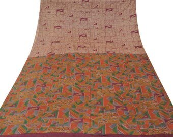 Antique Vintage Indian Saree Pure Silk Printed Peach  Decorative Fabric Craft Sarong Used Sari 5 YD VPS41099