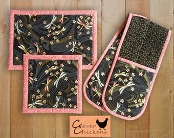 Oven Glove Mitt Hot Pad Dragonflies Kitchen Set Asian Oriental Black Pink Gold Housewarming Gift Mother's Day, Christmas Gift