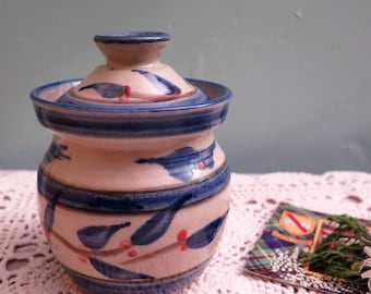 Vintage Newtonmore Highland Pottery Lidded Pot - Newtonmore Jam Pot - Newtonmore Sugar Bowl - Scottish Pottery - Scottish Glazed Stoneware
