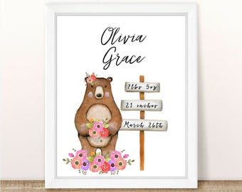 PRINTABLE Floral Bear Nursery Art Print, Birth Statistics Bear Art Print, Bear Nursery, Woodland Girl Nursery Print, Bear, Watercolor Bear
